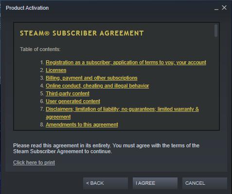 Steam agreement