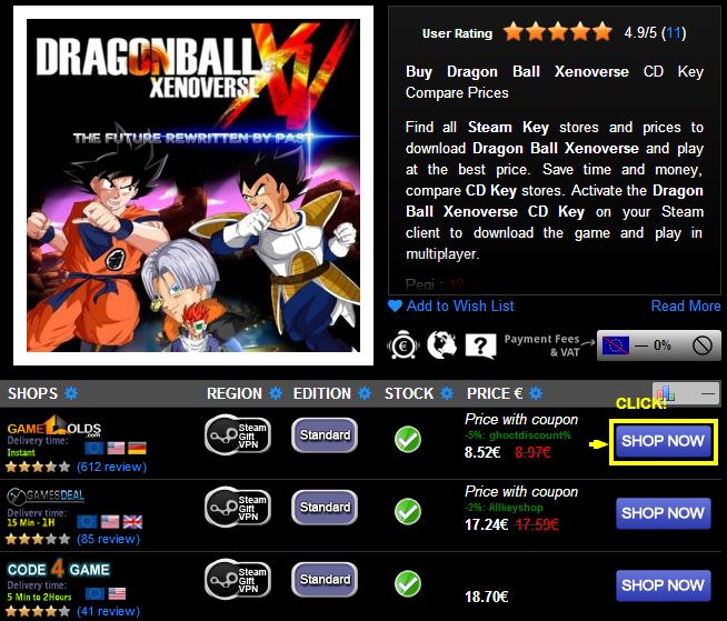 Buy Dragon Ball Xenoverse CD KEY Compare Prices