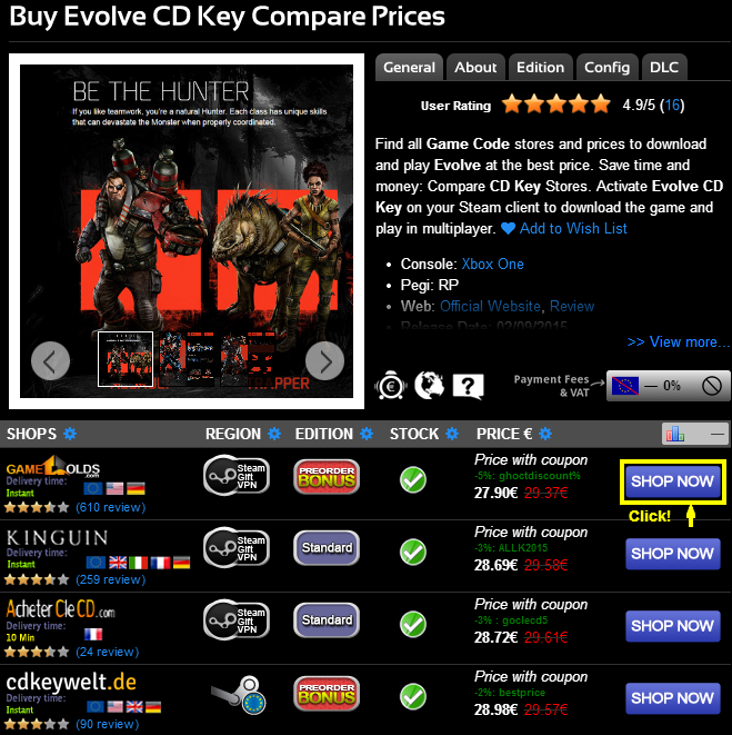 Buy Evolve CD KEY Compare Prices
