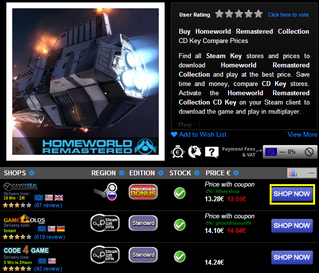 Buy Homeworld Remastered Collection CD KEY Compare Prices