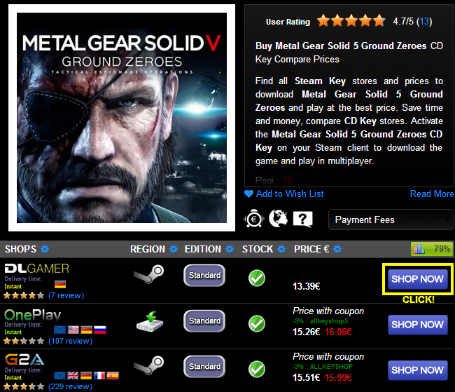 Buy Metal Gear Solid 5 Ground Zeroes CD KEY Compare Prices