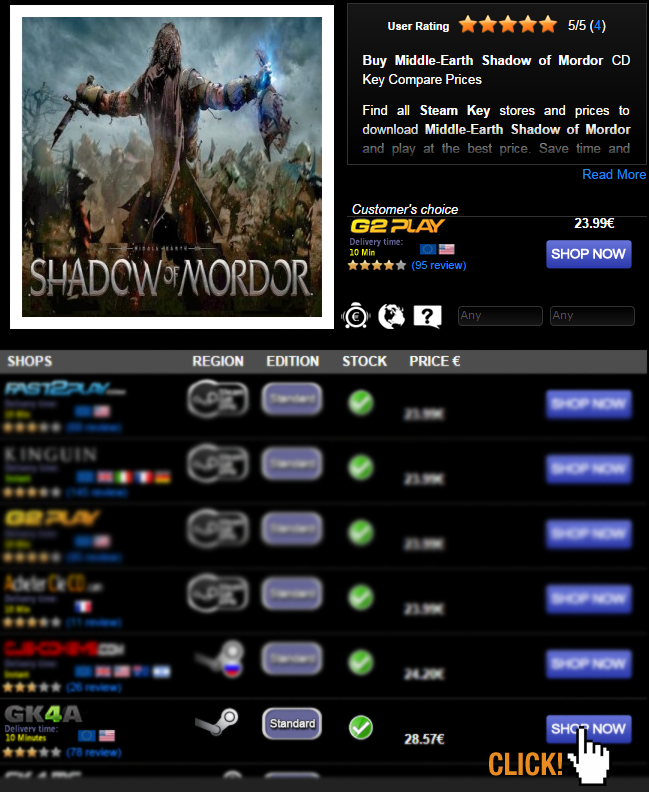 Buy Middle Earth Shadow of Mordor CD KEY Compare Prices