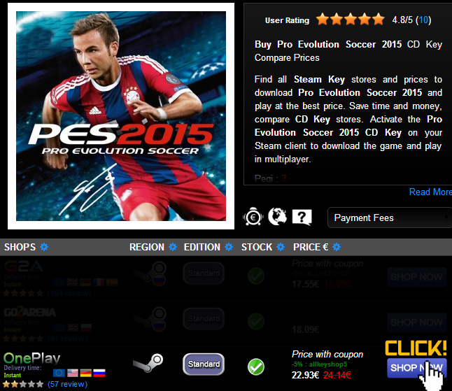 Buy Pro Evolution Soccer 2015 CD KEY Compare Prices