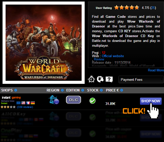 Buy Wow Warlords of Draenor CD KEY Compare Prices