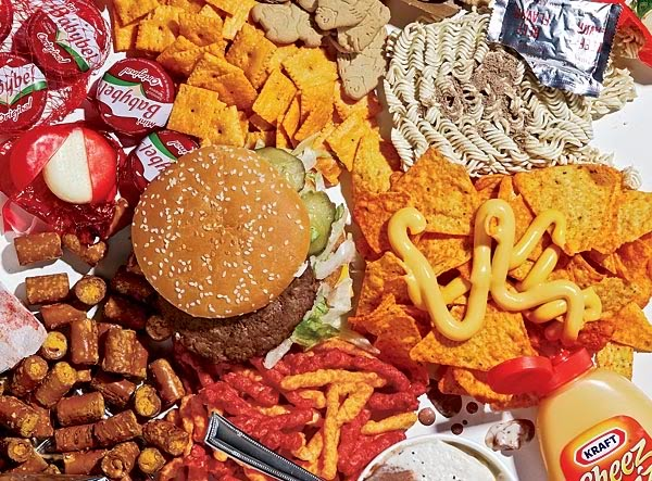 Burgers, Cheetos, and other unhealthy snacks