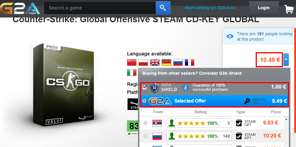 Counter Strike  Global Offensive STEAM CD KEY GLOBAL   Buy cheap   G2A.COM