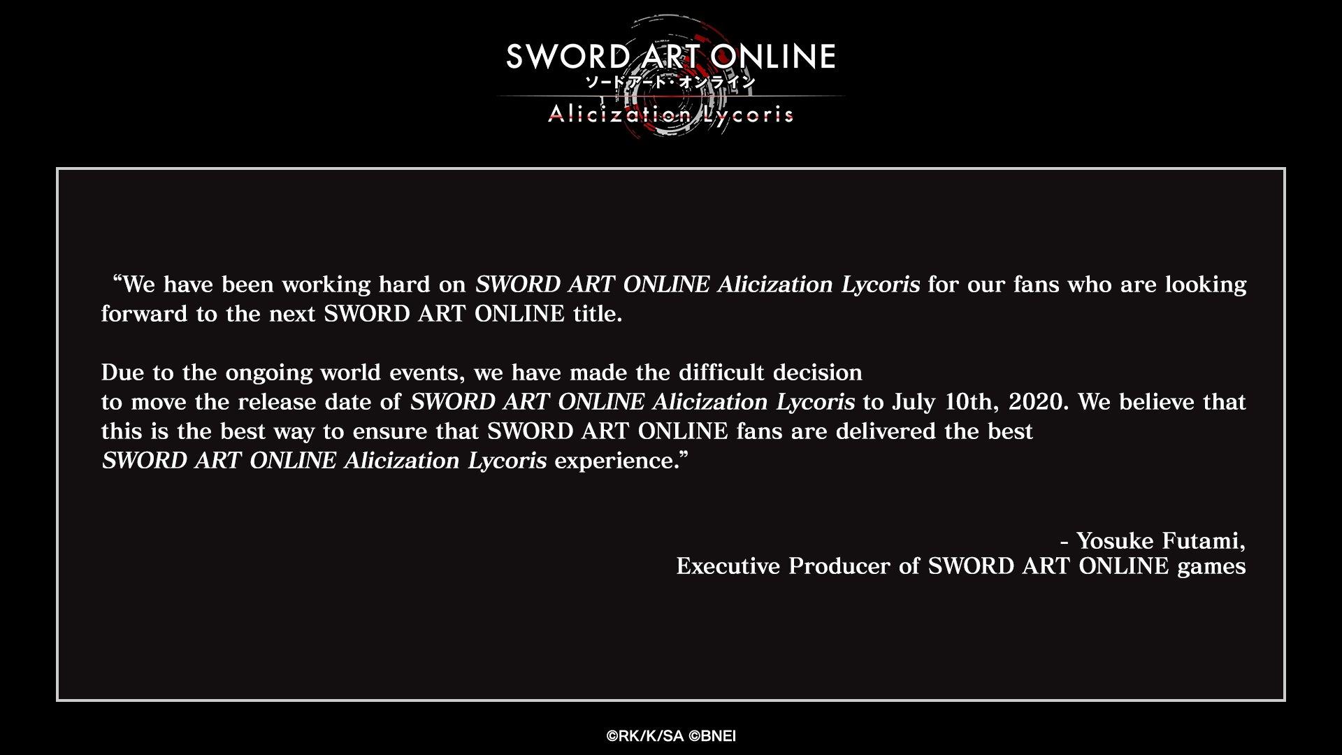 Sword Art Online: Alicization Lycoris Release Delayed