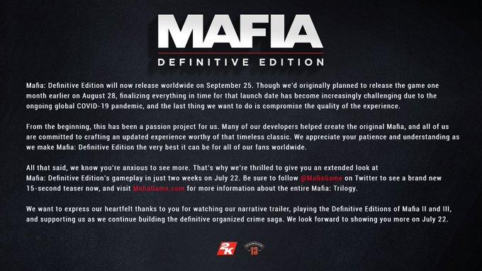 Mafia Definitive Edition Release