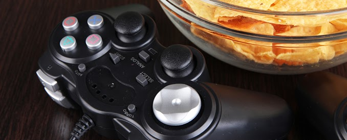 Controller with a bowl of chips