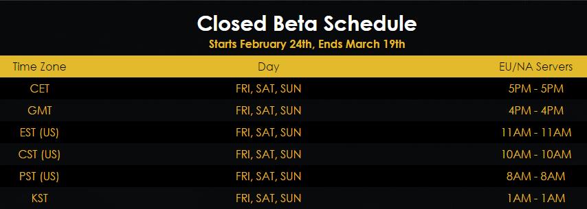 Playerunknown's Battlegrounds Closed Beta Schedule