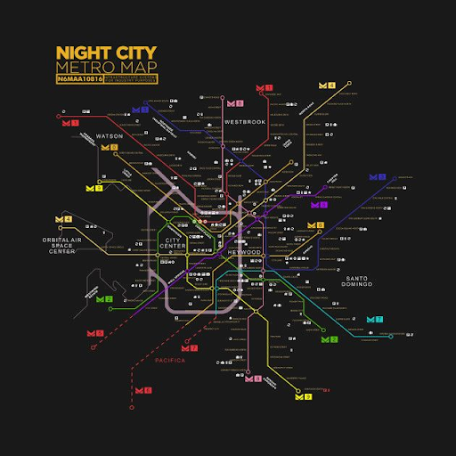 Night City Metro Map
