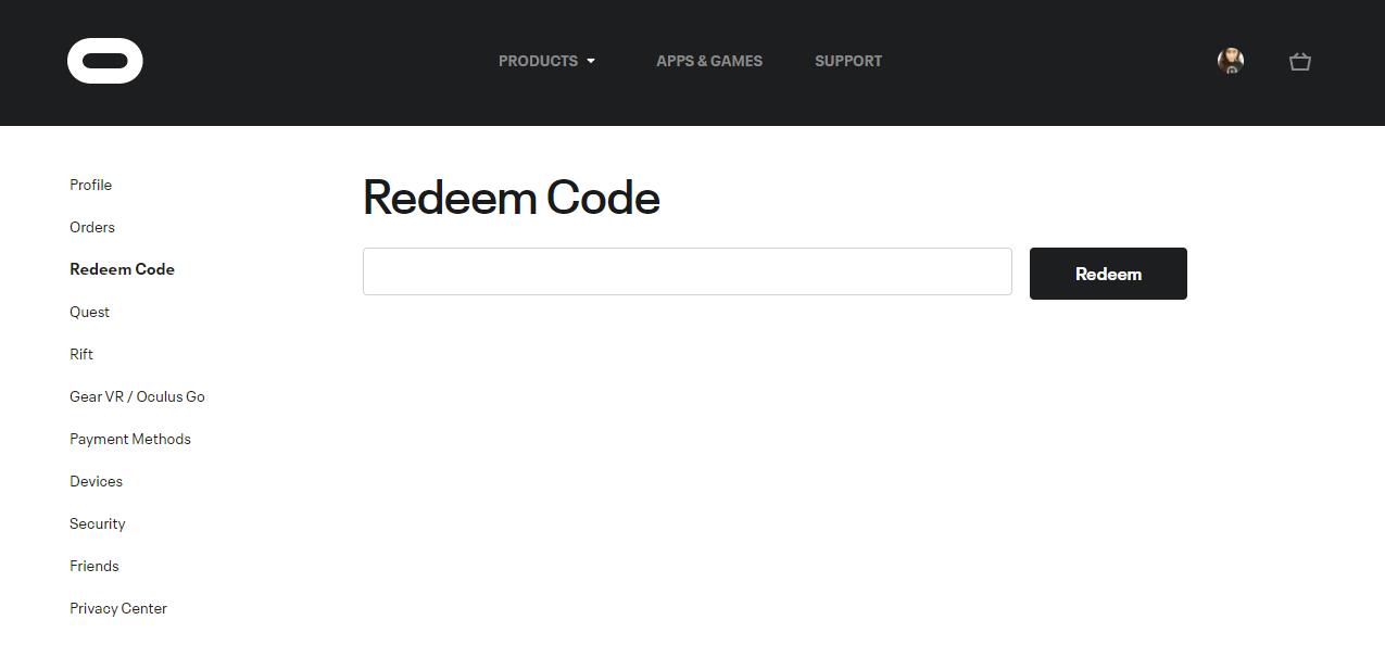 Redeem Code - Oculus