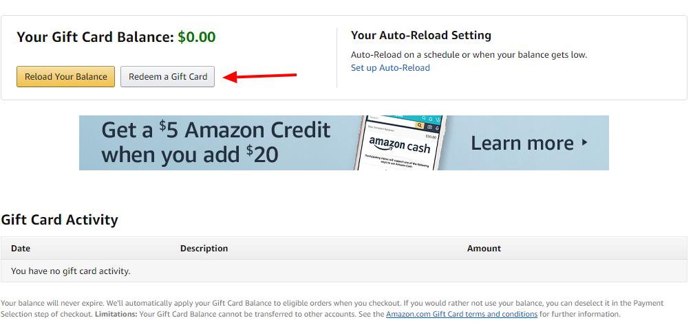 Amazon redeem gift card