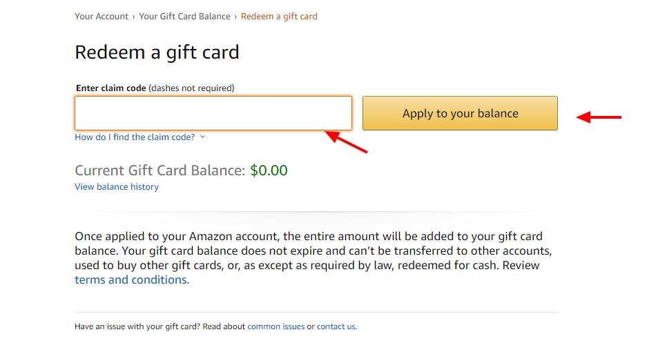 Amazon enter Gift card code