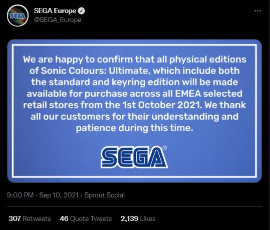 SEGA Europe Twitter