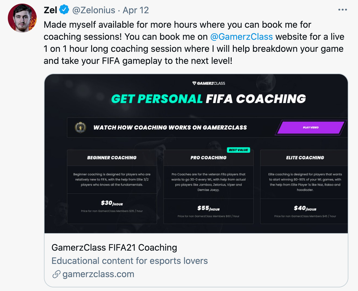 FIFA personal coaching rates