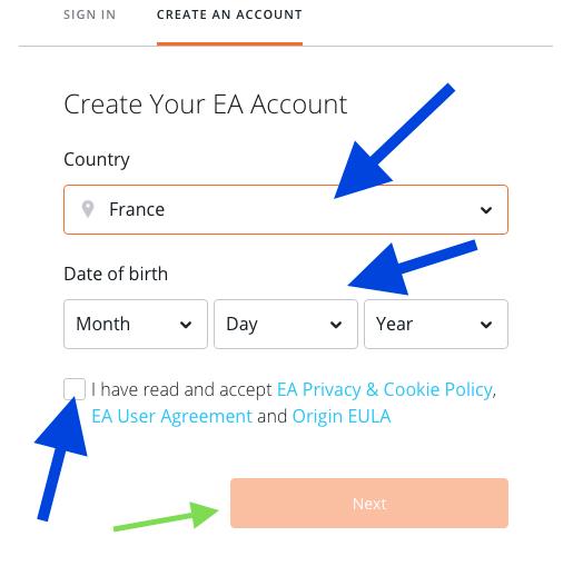 origin create an account