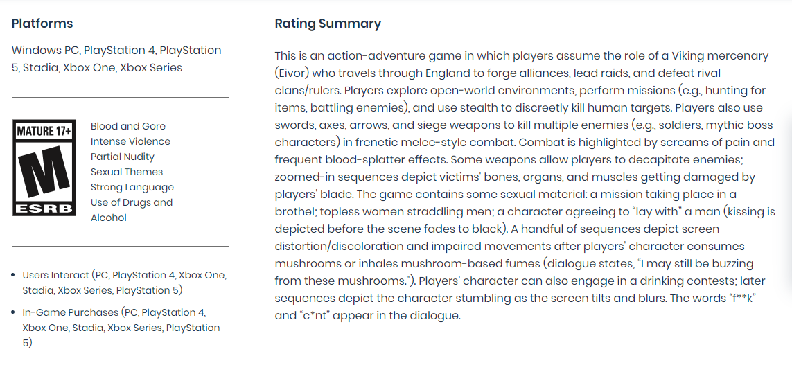 Assassin's Creed Valhalla ESRB Rating