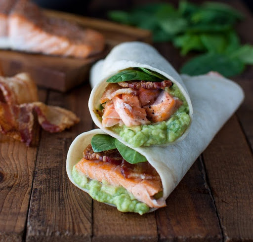 Salmon-guacamole wrap