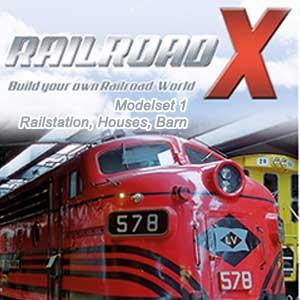 Railroad X Modelset 1 Railstation, Houses, Barn