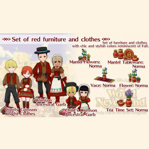 WorldNeverland Elnea Kingdom Set of red furniture and clothes