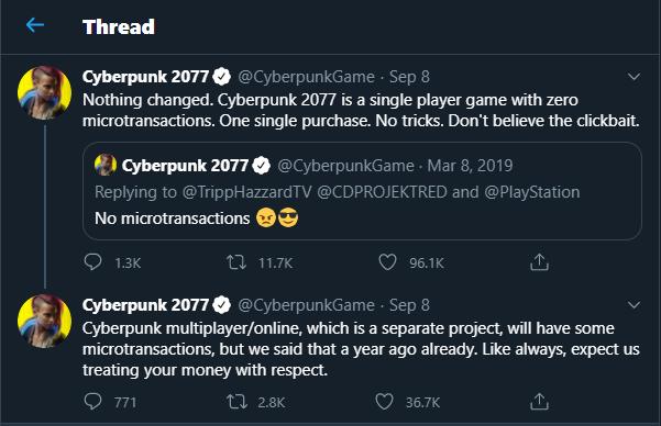 Cyberpunk 2077 Tweet