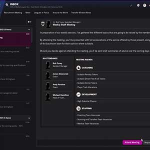 Football Manager 2022 Weekly Staff Meeting