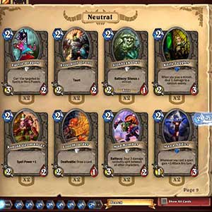 Hearthstone Heroes of Warcraft Deck of Cards Heroes Selection