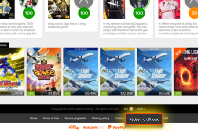 Instant Gaming redeem gift card