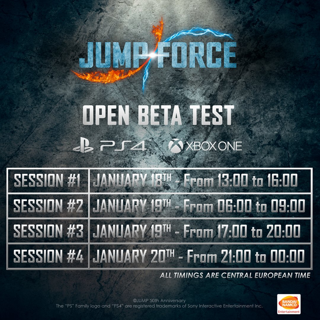 Jump Force Open Beta Schedule
