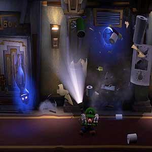 Three blue ghosts scaring Luigi in the hallway