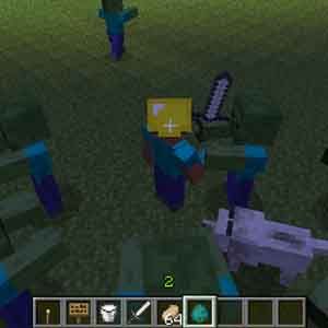 Minecraft PS4 Fighting Zombies