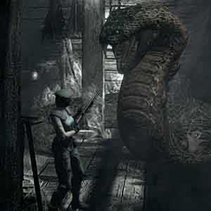 Resident Evil HD Remaster - Jill Valentine fighting a large serpent.