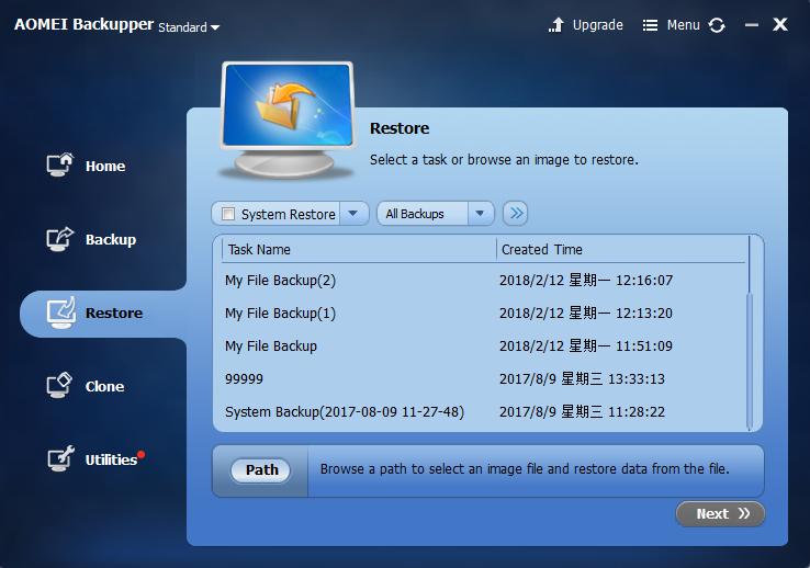AOMEI Backupper Standard restore