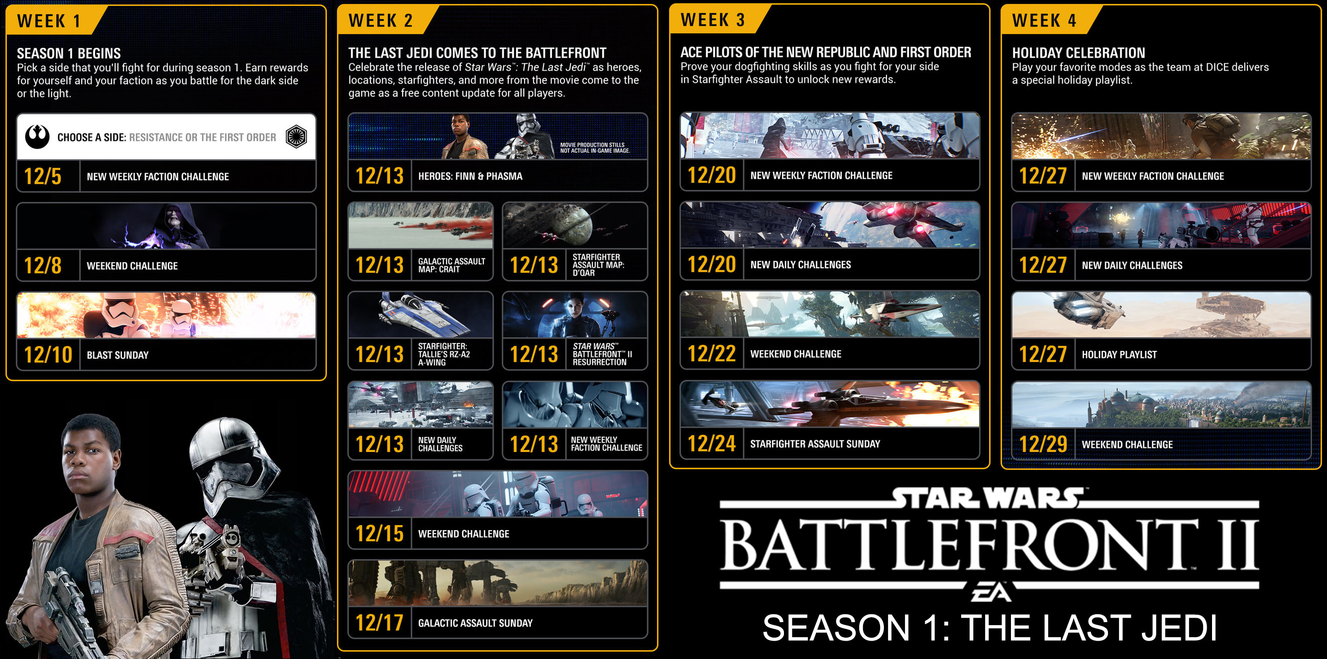 Calendrier Star Wars 2019.Star Wars Battlefront 2 The Last Jedi Content Calendar For
