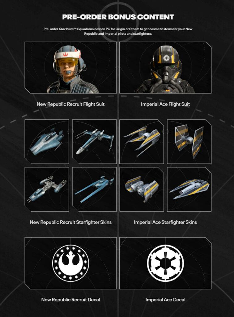 Star Wars Squadrons Pre-order Bonus