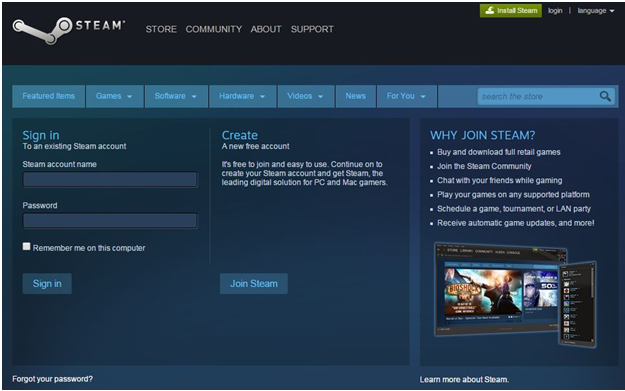 Steam Sign in