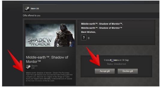 Steam accept gift