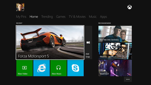 Xbox One menu